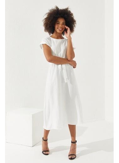 Reyon REYON Kadın Beli Lastikli Kuşaklı Elbise Beyaz Beyaz